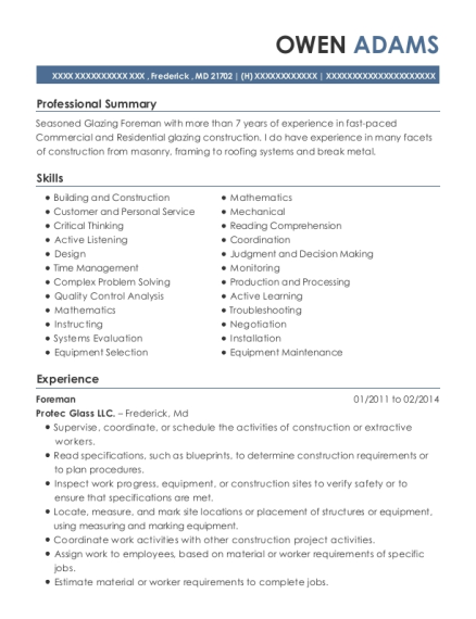 Foreman resume format Maryland