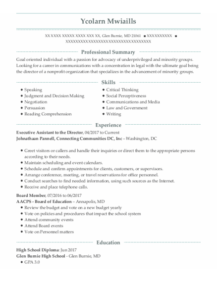 Board Member resume sample Maryland