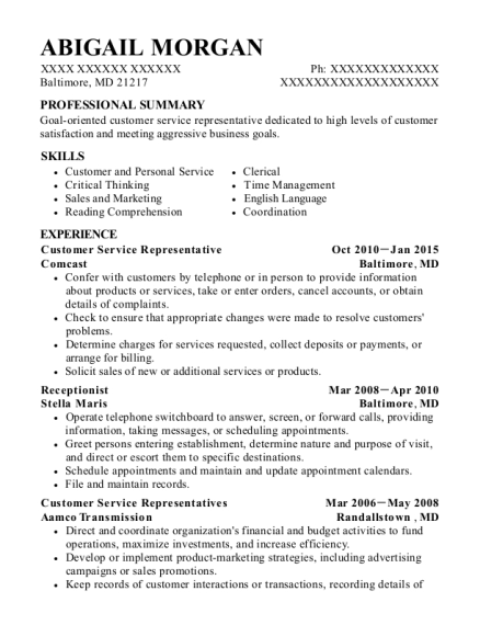 Customer Service Representative resume format Maryland