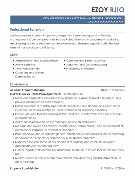 Assistant Property Manager resume sample Maryland