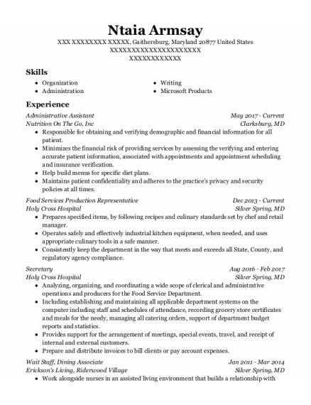 Administrative Assistant resume template MARYLAND