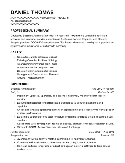 Systems Administrator resume format Maryland