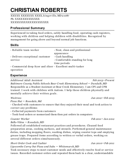 Additional Adult Assistant resume template Maryland