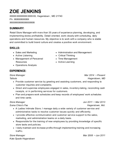 Store Manager resume example Maryland