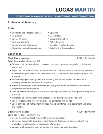 Fleet resume example Maryland