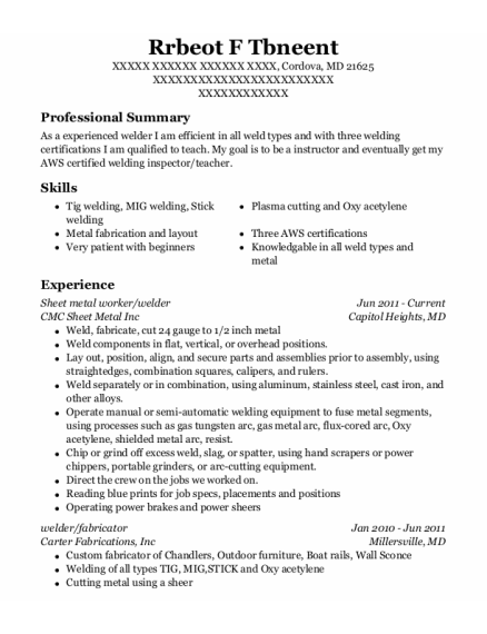 Sheet Metal Worker resume example Maryland