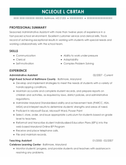 Administrative Assistant resume format Maryland