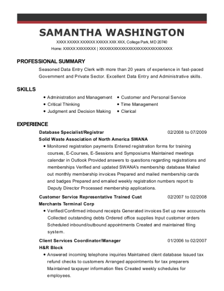 Database Specialist resume sample Maryland