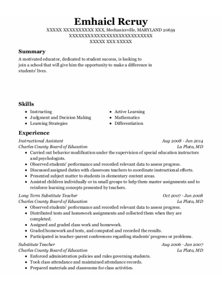 Instructional Assistant resume format MARYLAND