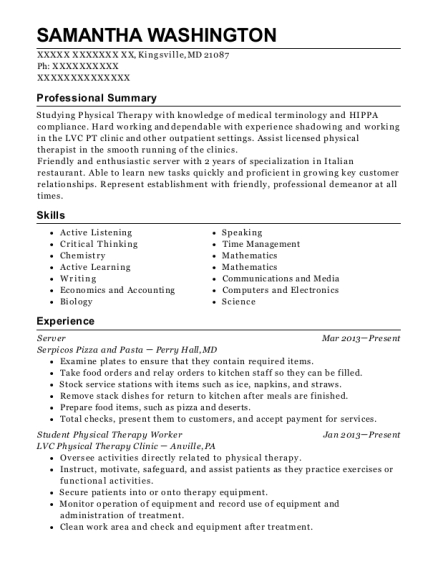 Server resume template Maryland