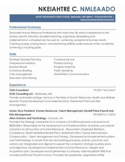 CEO resume sample Maryland