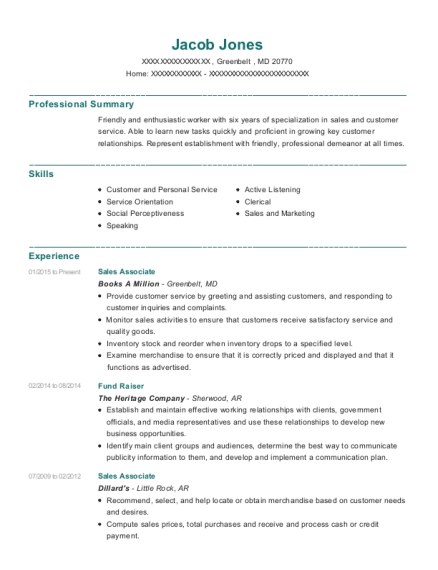 Sales Associate resume sample Maryland