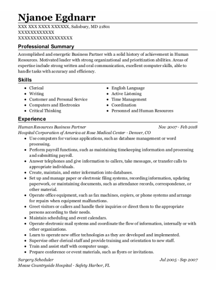 Surgery Scheduler resume format Maryland