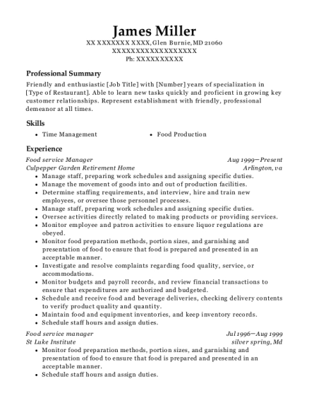 Food Service Manager resume sample Maryland