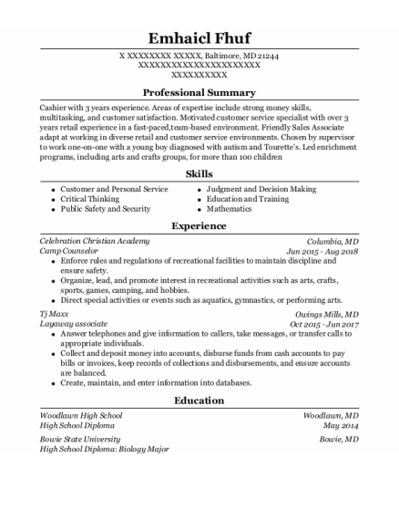 Camp Counselor resume example Maryland