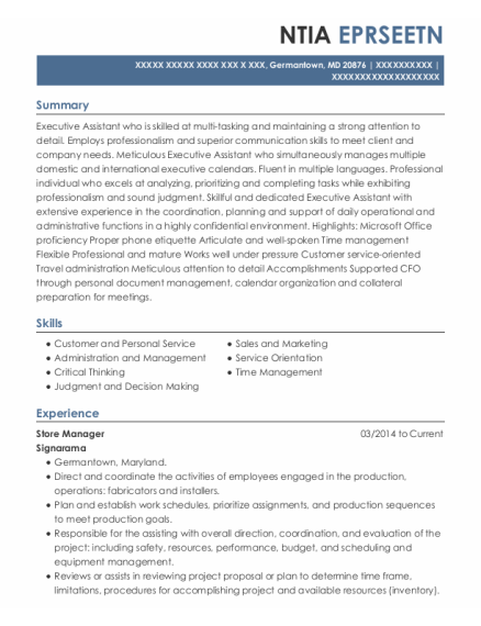 Store Manager resume template Maryland