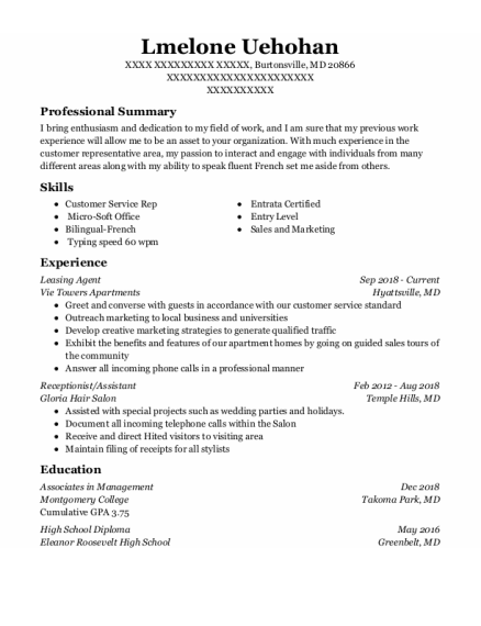 Leasing Agent resume example Maryland