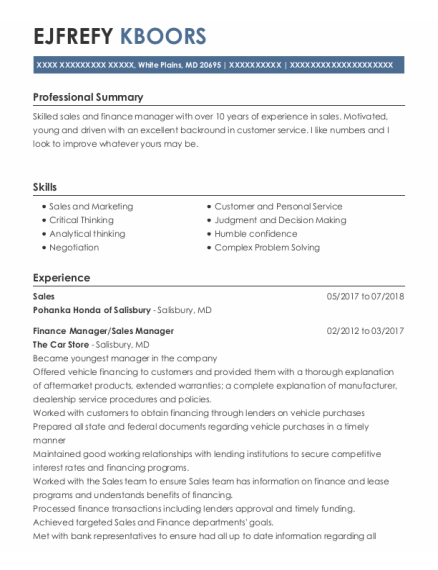 Sales resume example Maryland