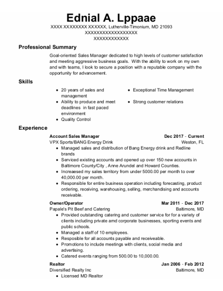 Account Sales Manager resume format Maryland