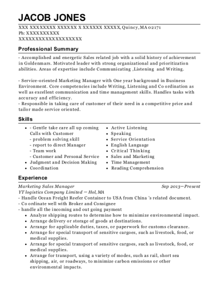Marketing Sales Manager resume example Massachusetts