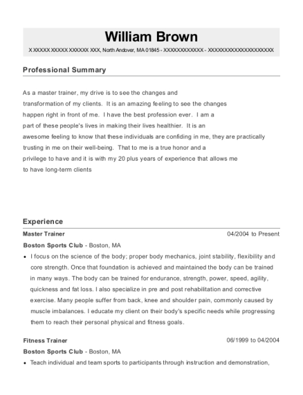 Master Trainer resume example Massachusetts