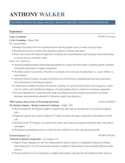 Senior Consultant resume format Massachusetts