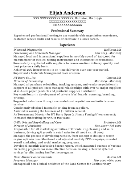 Purchasing and Materials Manager resume example Massachusetts