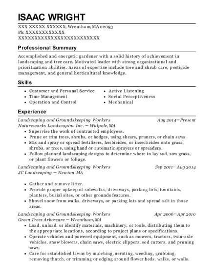 Landscaping and Groundskeeping Workers resume template Massachusetts