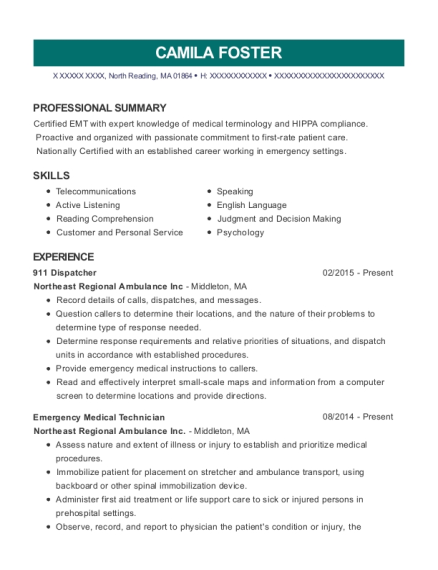 911 Dispatcher resume example Massachusetts