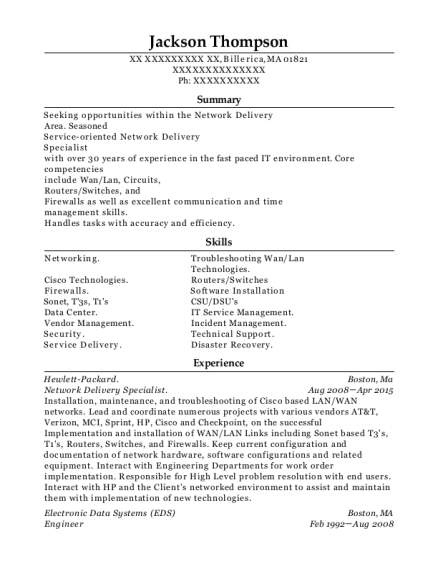 Network Delivery Specialist resume template Massachusetts