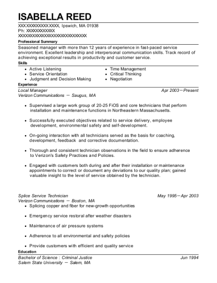Local Manager resume template Massachusetts