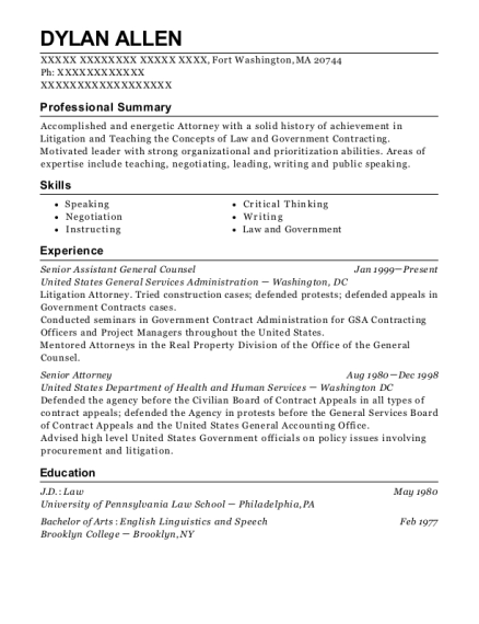 Senior Assistant General Counsel resume sample Massachusetts