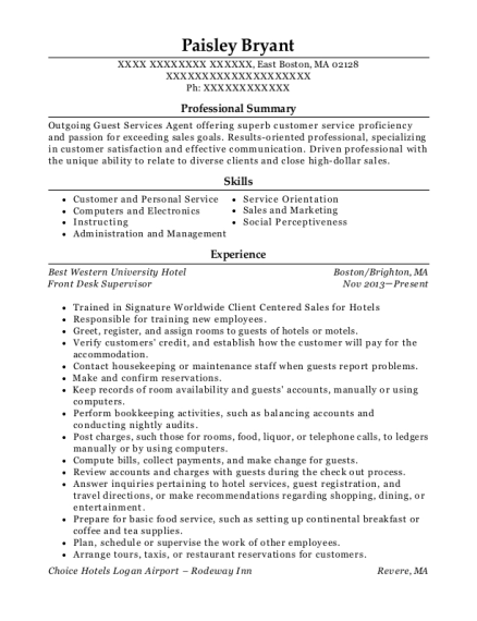 Front Desk Supervisor resume template Massachusetts