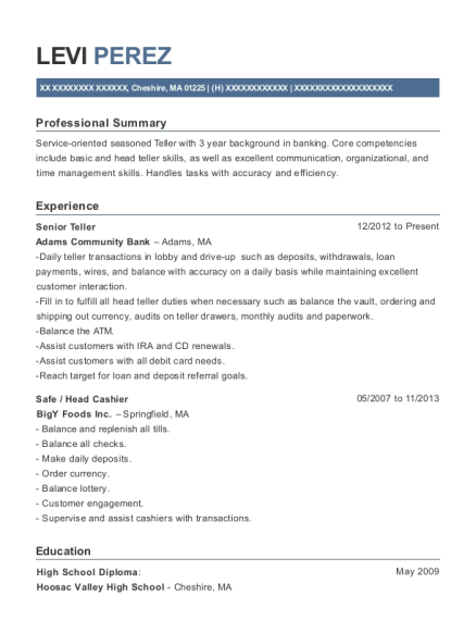 Senior Teller resume example Massachusetts