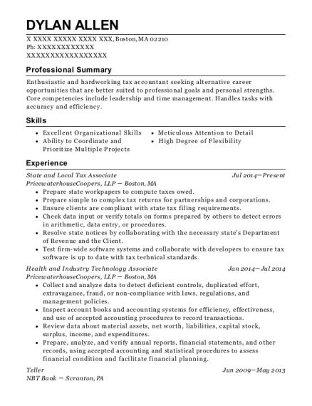 State and Local Tax Associate resume format Massachusetts