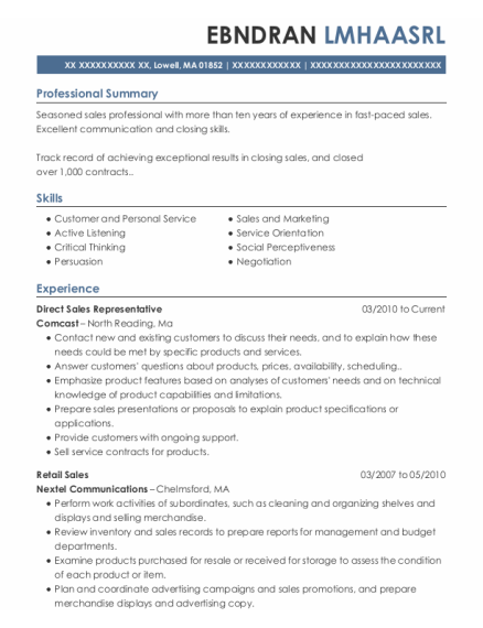 Direct Sales Representative resume sample Massachusetts
