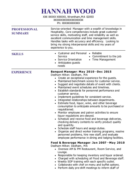 Banquet Manager resume format Massachusetts