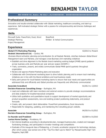 Global CTC Marketing Planning resume example Massachusetts