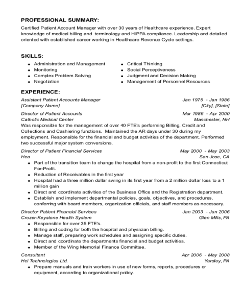 Assistant Patient Accounts Manager resume sample Massachusetts
