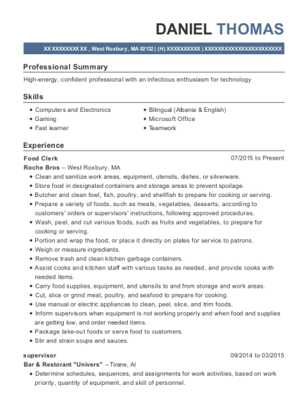 Food Clerk resume format Massachusetts