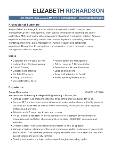 Co op Counselor resume example Massachusetts