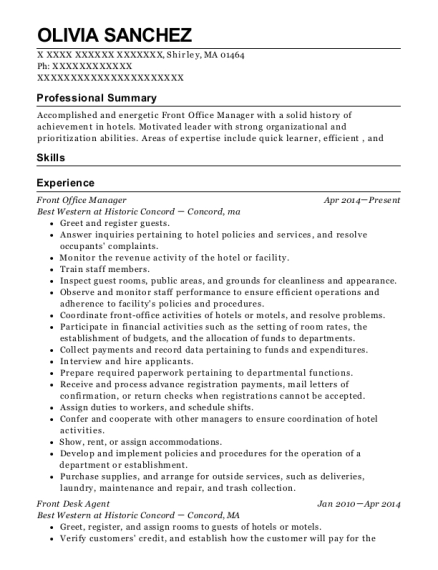 Front Office Manager resume template Massachusetts