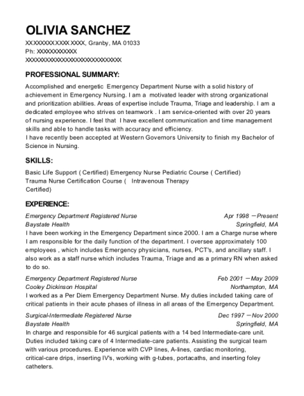 Emergency Department Registered Nurse resume template Massachusetts