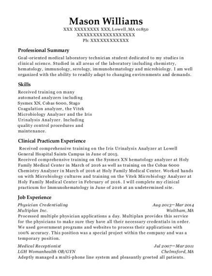 Physician Credentialing resume example Massachusetts
