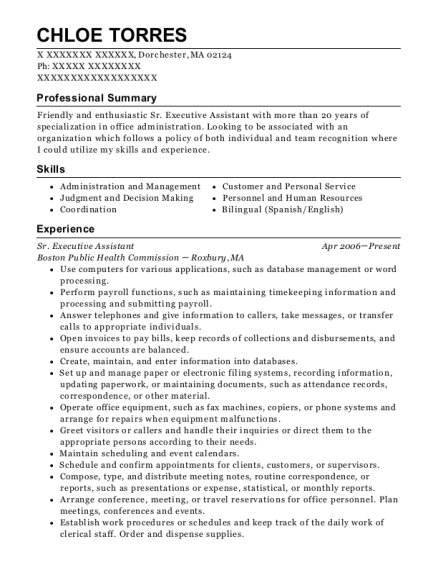 Sr Executive Assistant resume example Massachusetts