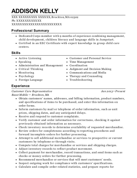 Customer Care Representative resume format Massachusetts