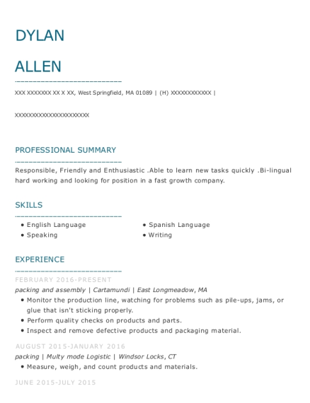 packing and assembly resume format Massachusetts