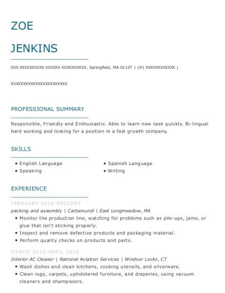 packing and assembly resume template Massachusetts
