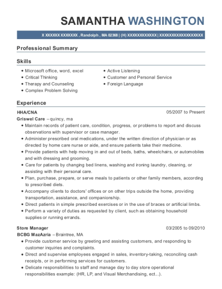 HHA resume example Massachusetts