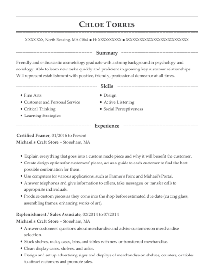 Certified Framer resume example Massachusetts